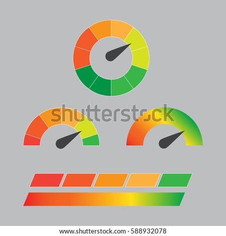 Credit score indicators and gauges vector