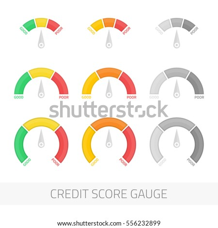 Credit score indicators and gauges vector set. Manometer vector illustration. Flat colorful financial history assessment of credit Score meter. Scores indicator isolated on white background.