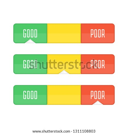 Credit score indicators or gauges. Manometer vector illustration. Flat colorful financial history assessment of credit Score meter. Scores indicator isolated on white background.