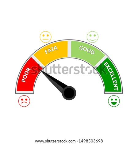 Credit score measurement color segment red and green. Score level fair, good, well, indication smile happy and sad. Vector illustration