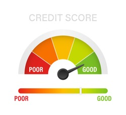 Credit score scale showing good value. Vector stock illustration.