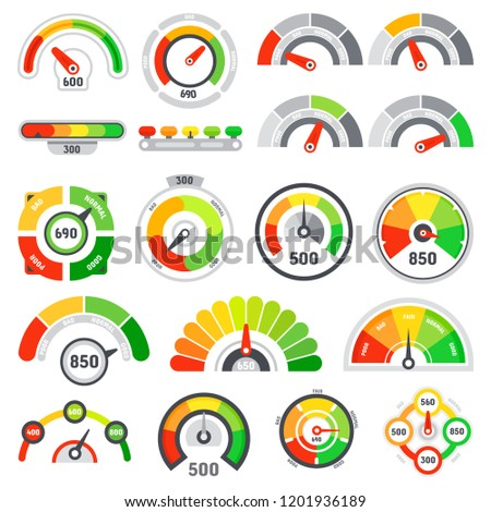 Credit score speedometer. Goods rating indication, good gauge indicator client satisfaction meter ratings and graph speedometers level indicators or quality speedometer isolated vector icons set