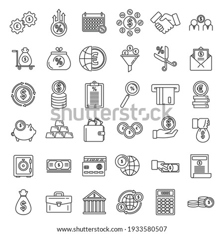 Credit union bank icons set. Outline set of credit union bank vector icons for web design isolated on white background
