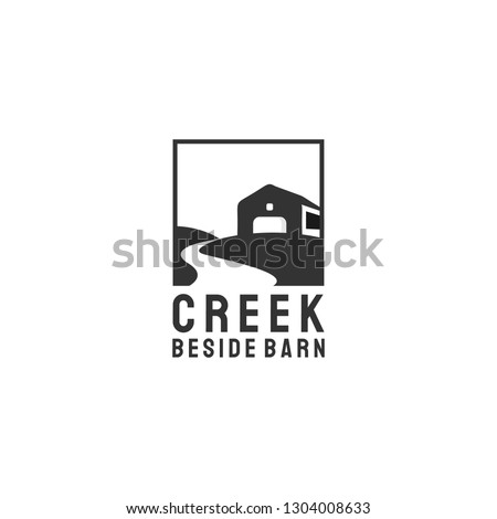creek and barn logo design