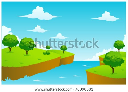 creek illustration vector - stock vector