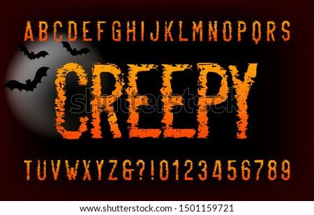 creepy alphabet font messy