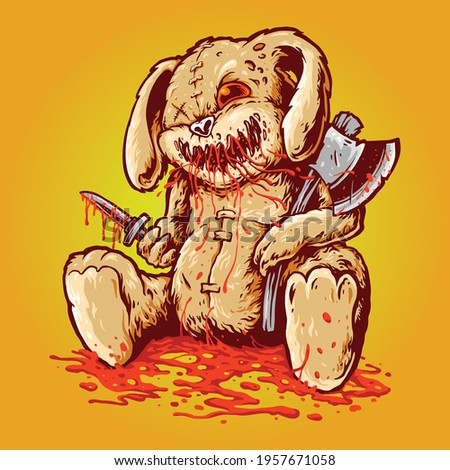 Creepy bloody Rabbit doll carrying axe  dagger illustrations for your work Logo, mascot merchandise t-shirt, stickers Label designs, poster, greeting cards advertising business company or brands Сток-фото ©