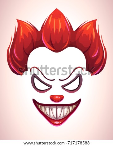 creepy clown mask vector angry