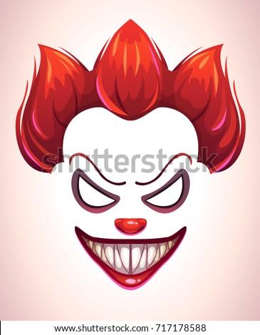 creepy clown mask vector angry