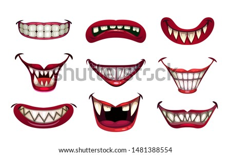 creepy clown mouths set scary