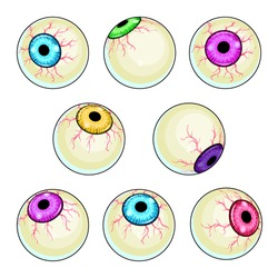 Creepy eye vector illustrations set. Halloween scary eyeball collection isolated on white background.  Cartoon red and green zombie monster eyes clipart. Horror party decorations.