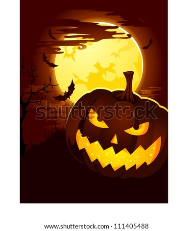 Creepy Halloween Background with Pumpkin