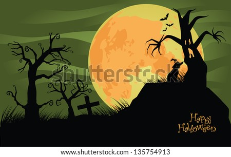 Creepy Halloween background with trees and cat. EPS 10 vector, grouped for easy editing. No open shapes or paths.