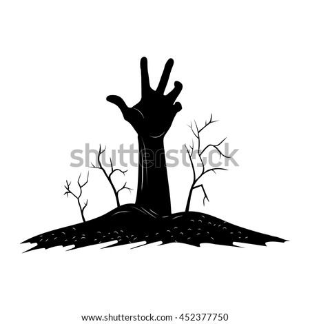 creepy hand raise over grave
