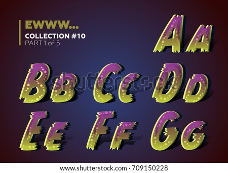 Creepy Ragged Typeset For Halloween Party 3D Alphabet In Scary Cartoon Style With Zombie Colors