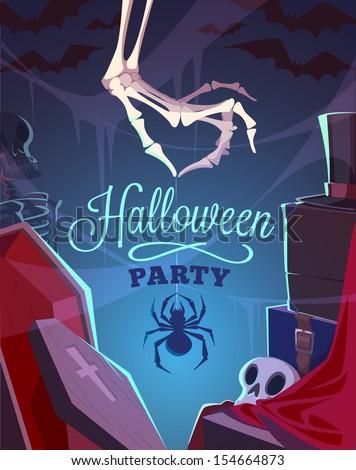 Creepy skeleton hand. Halloween cardposter. Vector illustration.