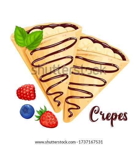 Crepes with bananas and chocolate, pancakes vector illustration for cafe or restaurant. Two crepes close-up in the cartoon style. Foto stock ©