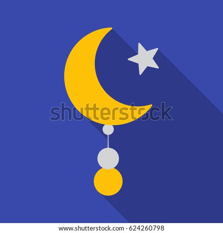 Crescent and Star icon in flat style isolated on blue background. Religion symbol stock vector illustration.