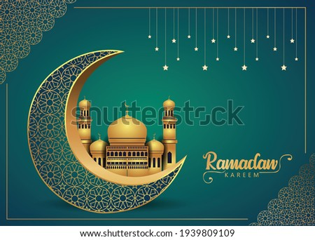 Crescent Islamic with mosque for Ramadan Kareem and eid mubarak. Golden Half Moon pattern,background.vector illustration