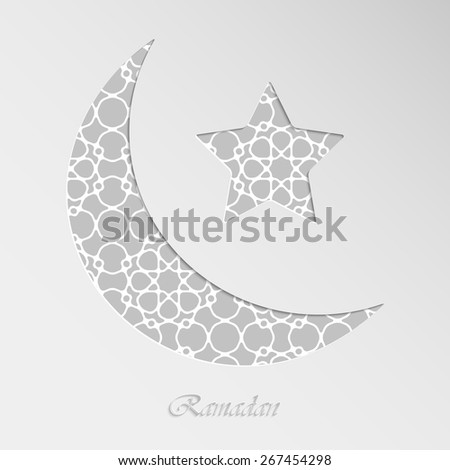 Crescent moon and star on paper background with geometric islamic wallpaper pattern for holy month of muslim community Ramadan Kareem