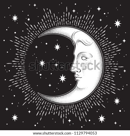 Crescent moon and stars in antique style hand drawn line art and dotwork. Boho chic tattoo, poster, altar veil, tapestry or fabric print design vector illustration