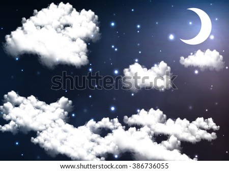 crescent moon illuminates the