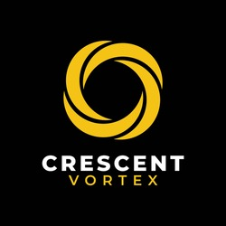 Crescent Moon Light Vortex Hurricane Logo Design Vector
