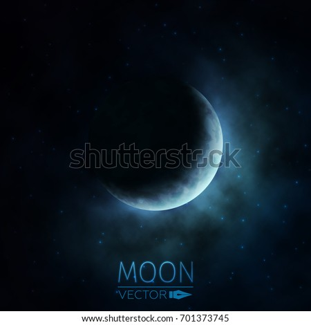 Crescent Moon. Moon in Clouds. The Background of the Moon in the Starry Sky. Moonlight in the Night Sky. Vector Illustration.