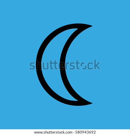 crescent moon phase icon flat