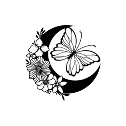 Crescent moon with butterfly and floral style decoration