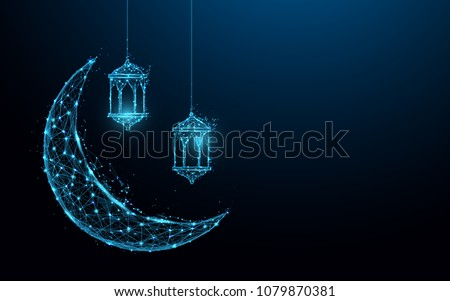 crescent moon with hanging