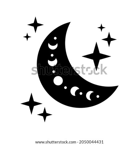 crescent moon with moon phase