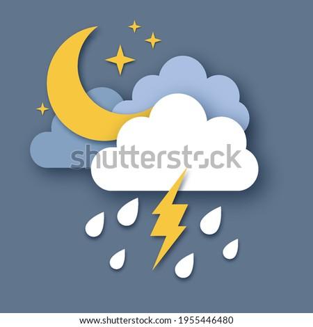 crescent moon with raincloud
