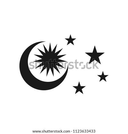 crescent, sun, and star vector logo.