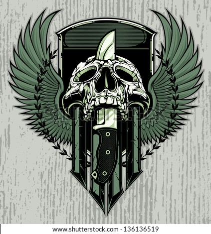 crest design with skull slain