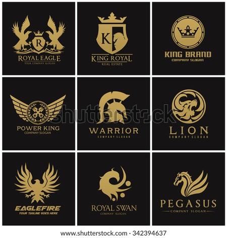 crest logo collection logo set