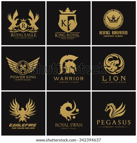 Crest logo collection set Automotive Eagle warrior Pegasus lion king and royal crown Gold Vector template