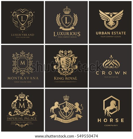 Crests and luxury logo set, Royal, Monogram, Hotel and fashion brand identity.