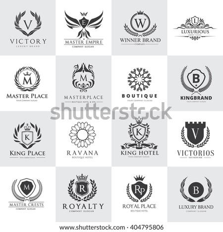 Crests logo,Hotel logo set,Vector logo template