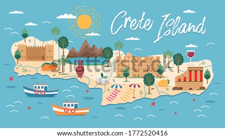 Crete island map with architecture illustration. Crete famous landmarks, city sights. Greece beach landscape. Bay of Chania, Heraklion. Greece Knossos Palace ceremonial and political centre of Minoan