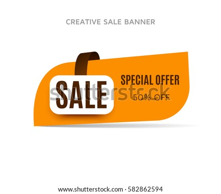 Cretive sale banner with shadow on a white background. Orange sticker or discount label. Web special offer tag. Vector promotion poster, badge template, eps10