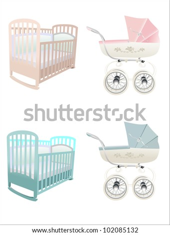 crib and stroller