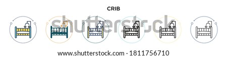 Crib icon in filled, thin line, outline and stroke style. Vector illustration of two colored and black crib vector icons designs can be used for mobile, ui, web Foto stock ©