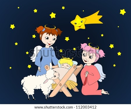 Crib with child Jesus two, cute angels and little lamb, christmas scene - vector illustration