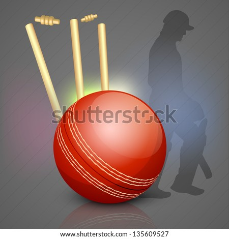 Cricket background with Cricket ball on stumps and silhouette of a out batsman.