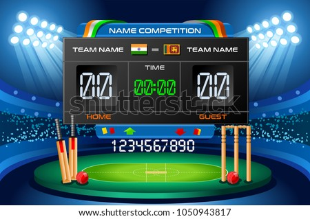 Cricket background with scoreboard. Hitting recreation equipment. Vector wallpaper design. - Shutterstock ID 1050943817