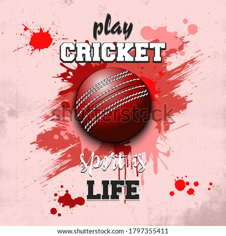 Cricket ball icon. Play cricket. Sport is life, text. Pattern for design poster, logo, emblem, label, banner, icon. Cricket template isolated on background. Grunge style. Vector illustration