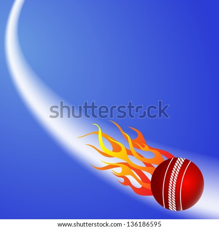 Cricket ball in fire on blue background.