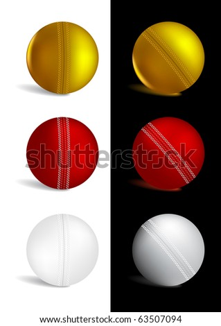 Cricket Ball in gold, red and white colors - vector illustration