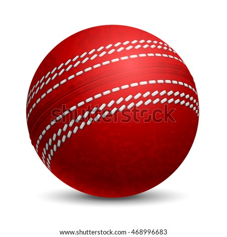 Stock Photo Cricket Ball. Sports equipment. Realistic Vector Illustration. Isolated on White Background.